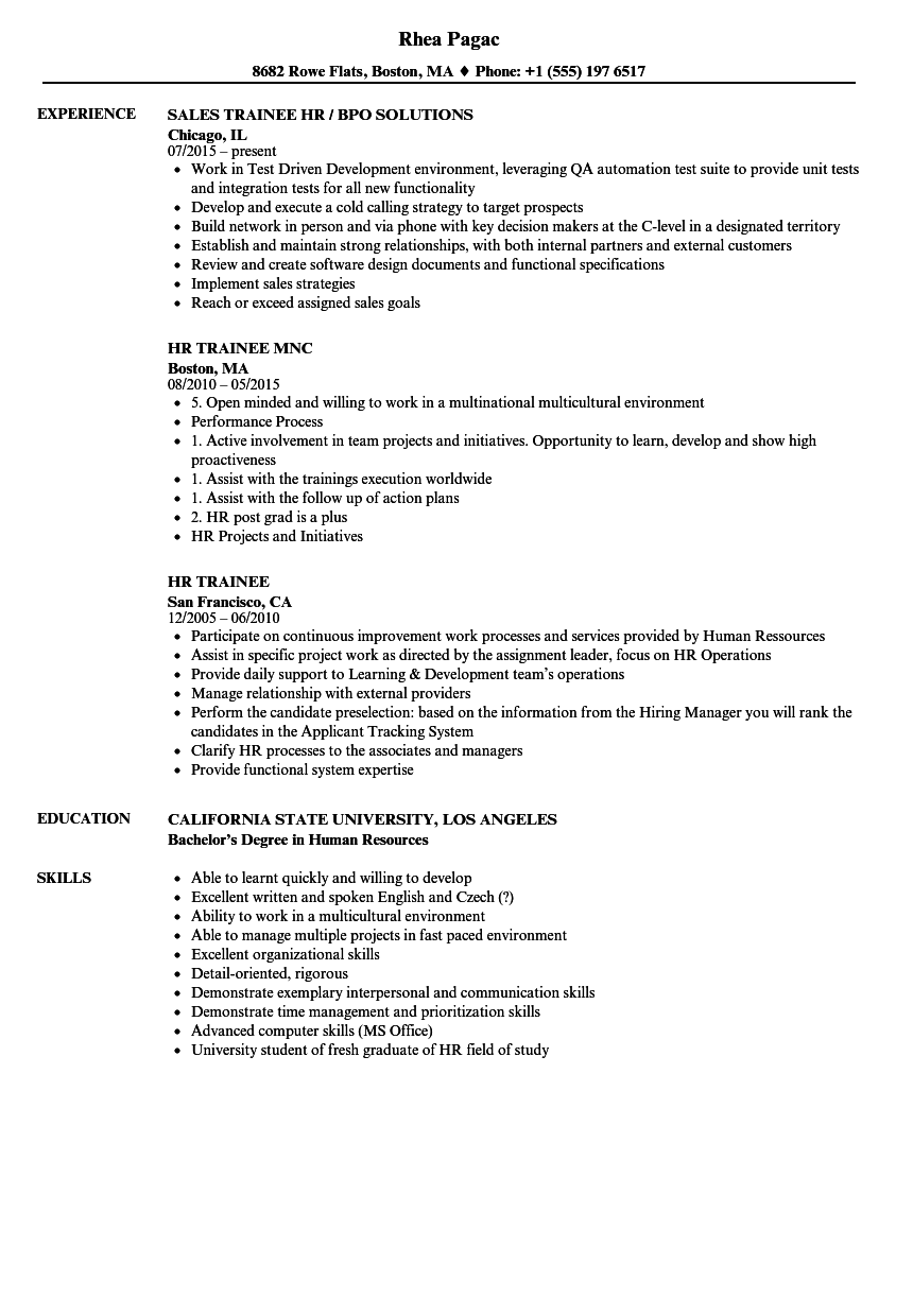 hr trainee resume samples