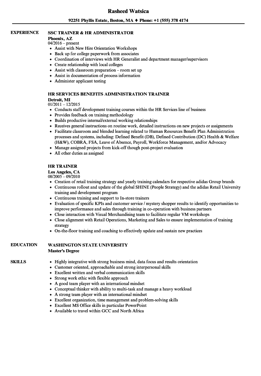 HR Trainer Resume Samples | Velvet Jobs