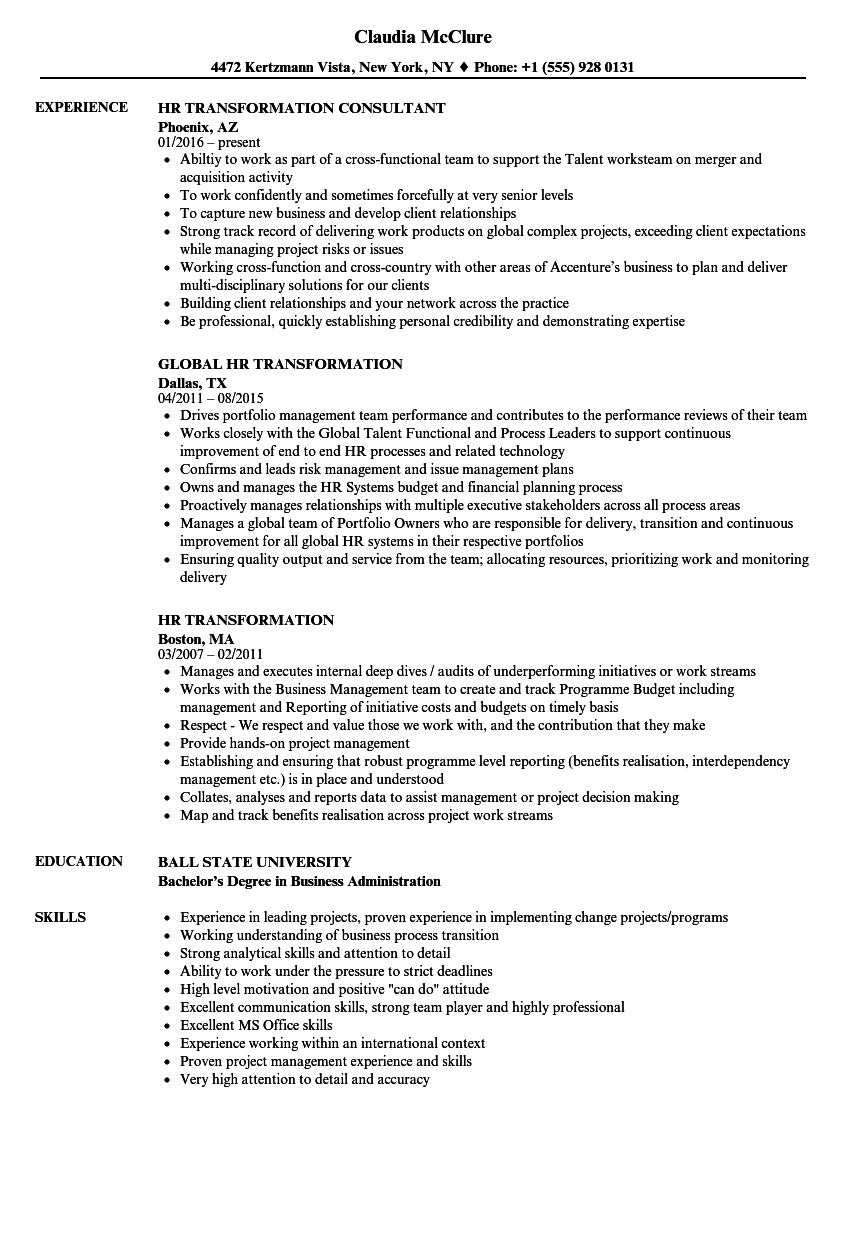 Hr Transformation Resume Samples Velvet Jobs