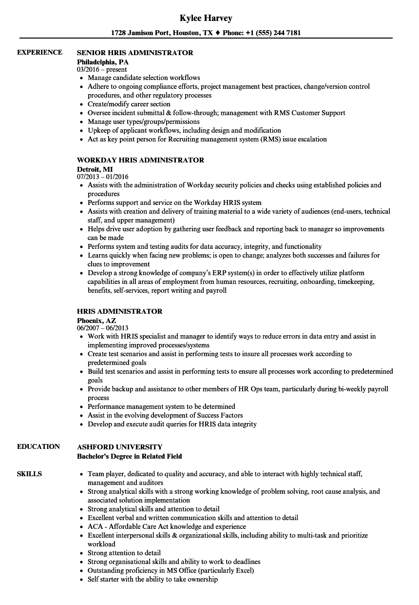 Hris Administrator Resume Samples Velvet Jobs