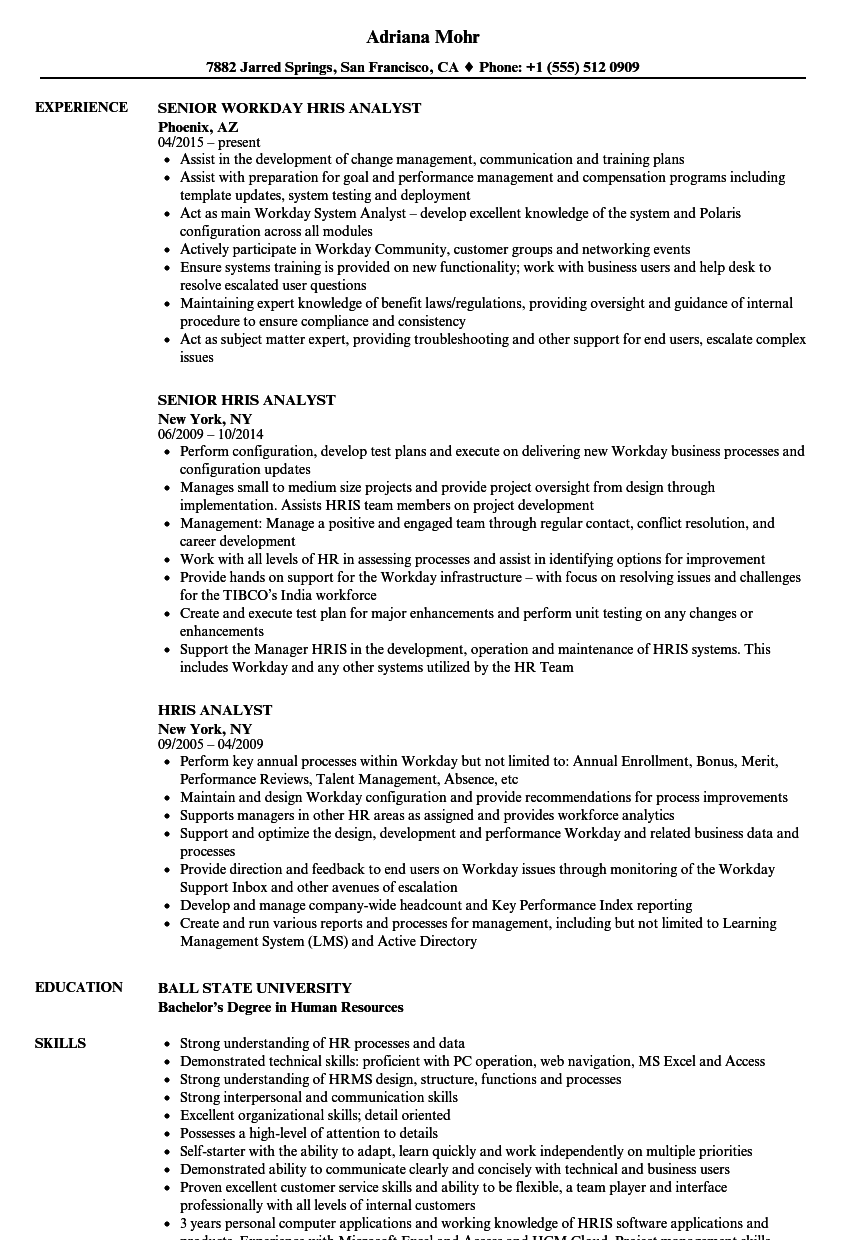 Hris Analyst Resume Samples Velvet Jobs