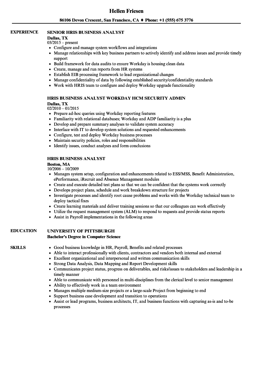 Hris Business Analyst Resume Samples Velvet Jobs