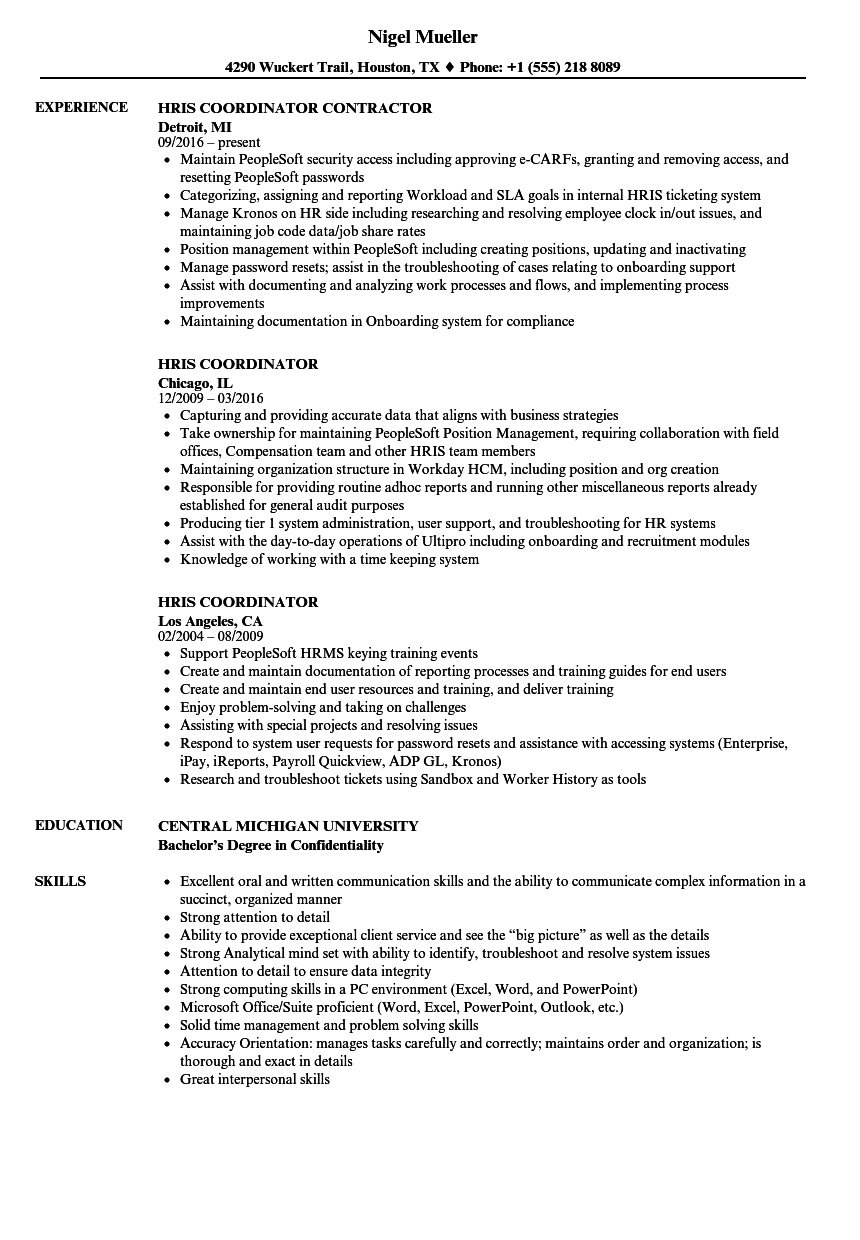 hris coordinator resume samples