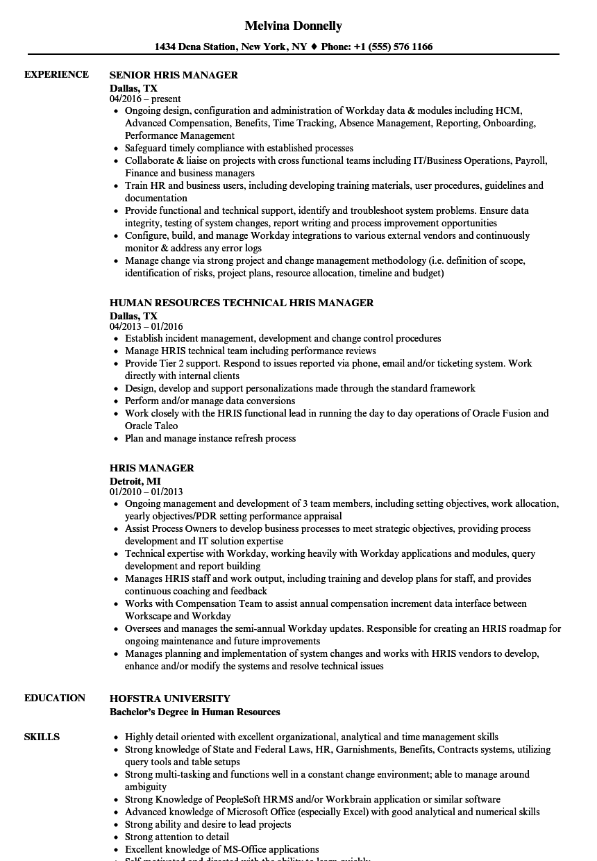 hris manager resume samples
