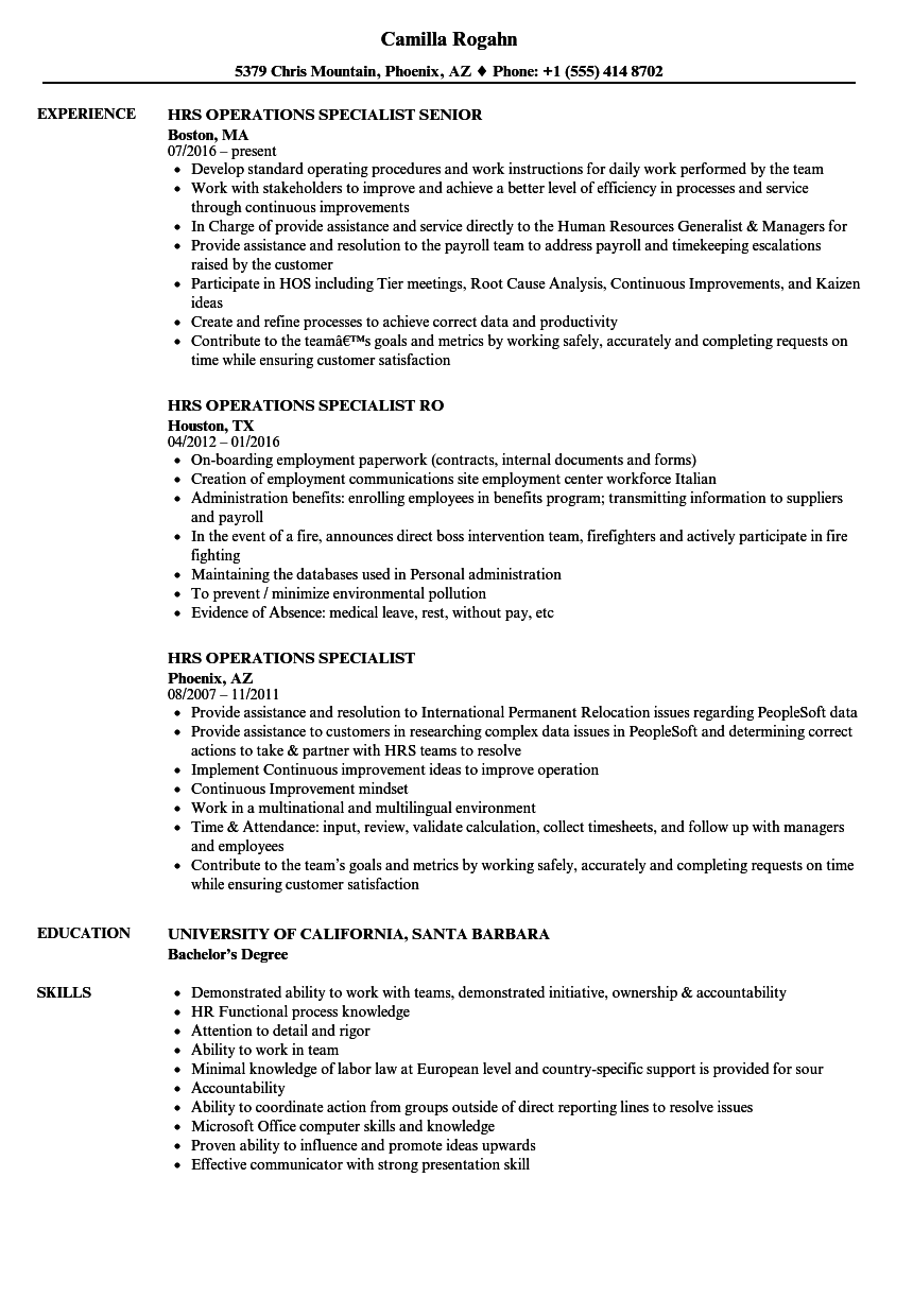 Hrs Operations Specialist Resume Samples Velvet Jobs