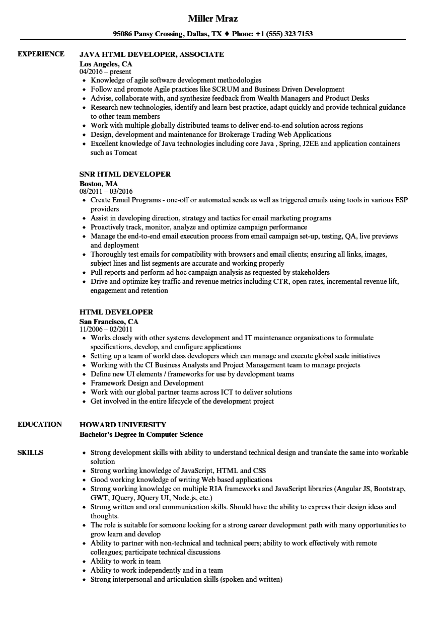 Html Developer Resume Samples Velvet Jobs