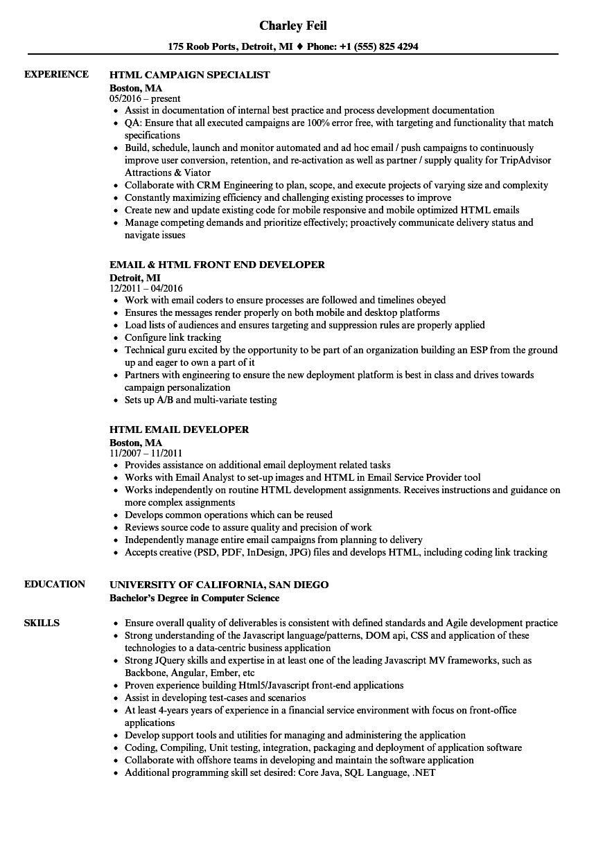 Html Resume Samples Velvet Jobs