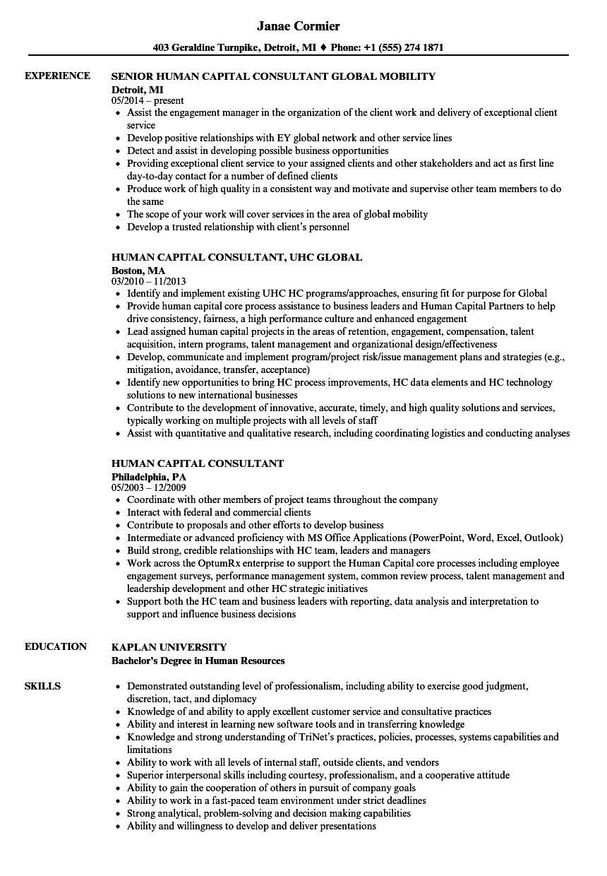 Human Capital Consultant Resume Samples | Velvet Jobs