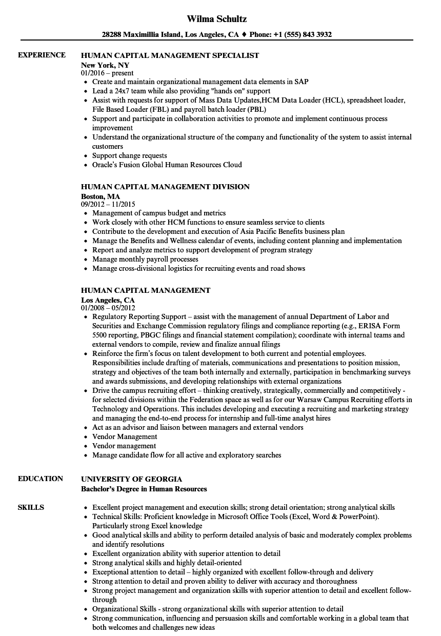 Human Capital Management Resume Samples | Velvet Jobs