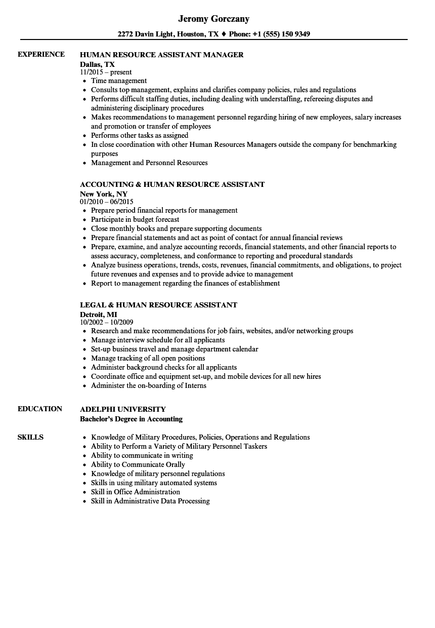 human resource assistant resume samples