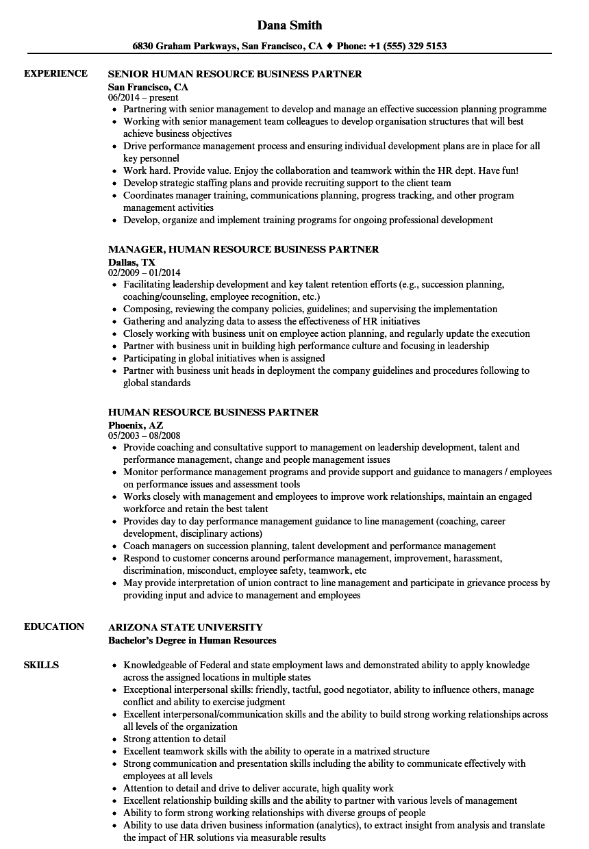 Human Resource Business Partner Resume Samples Velvet Jobs