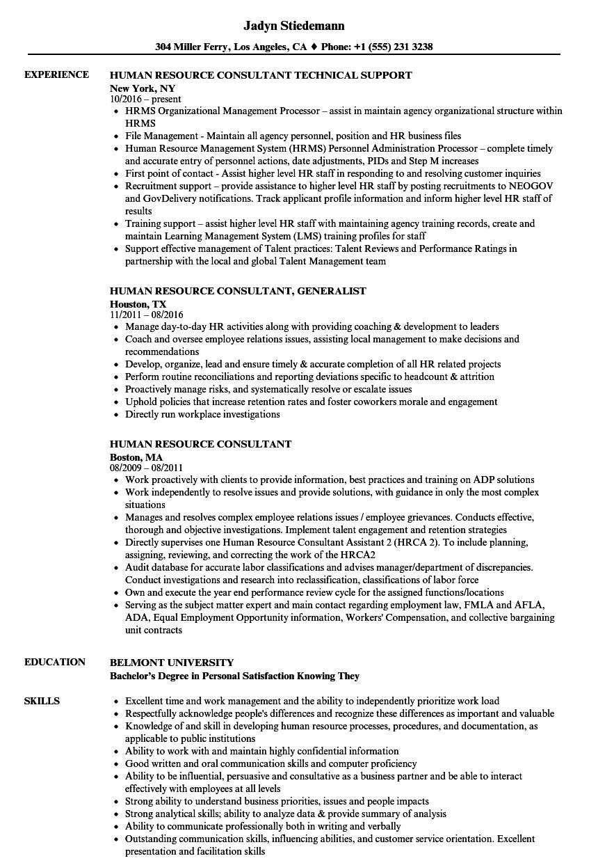 Human Resource Consultant Resume Samples | Velvet Jobs