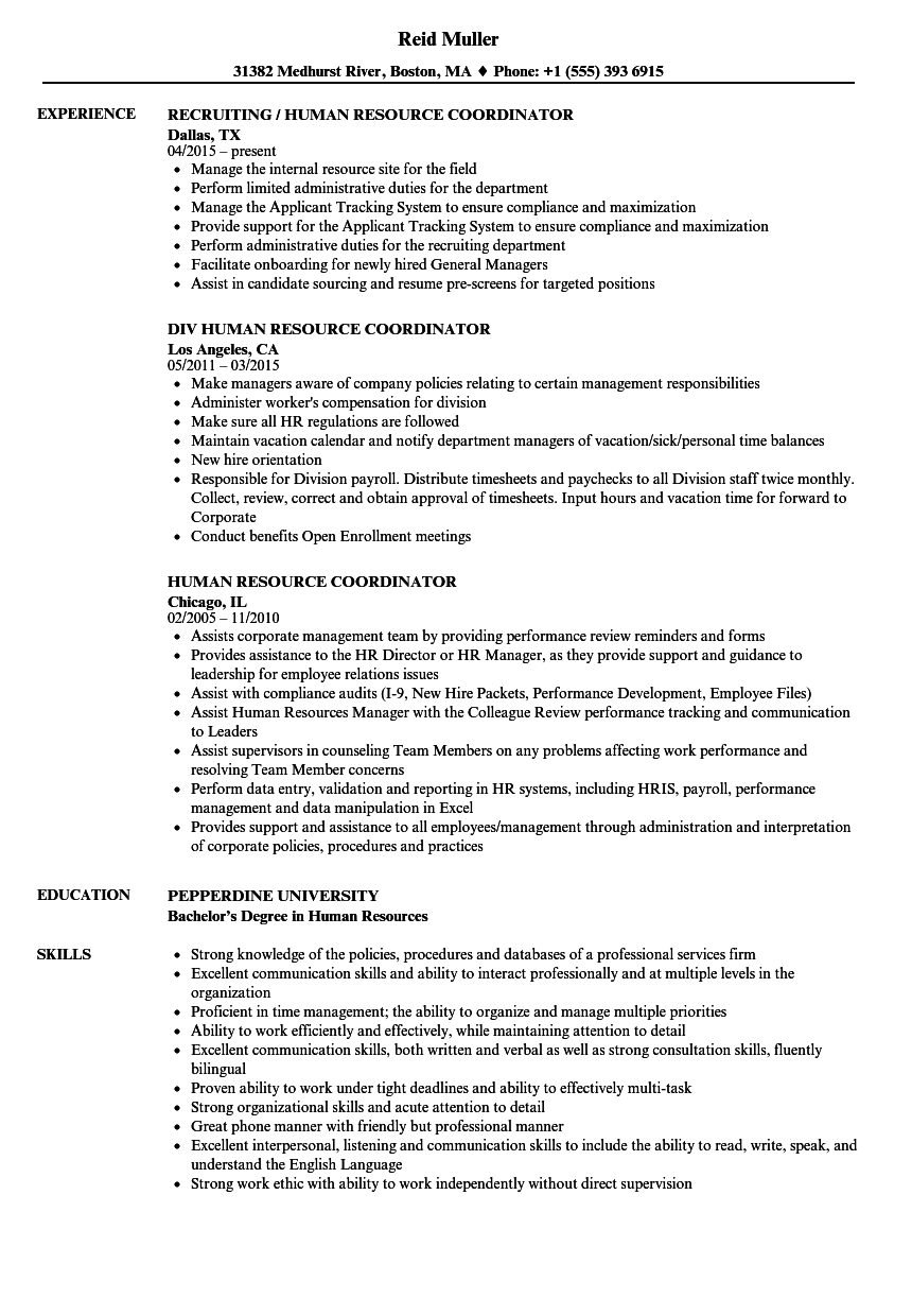 human resource coordinator resume samples