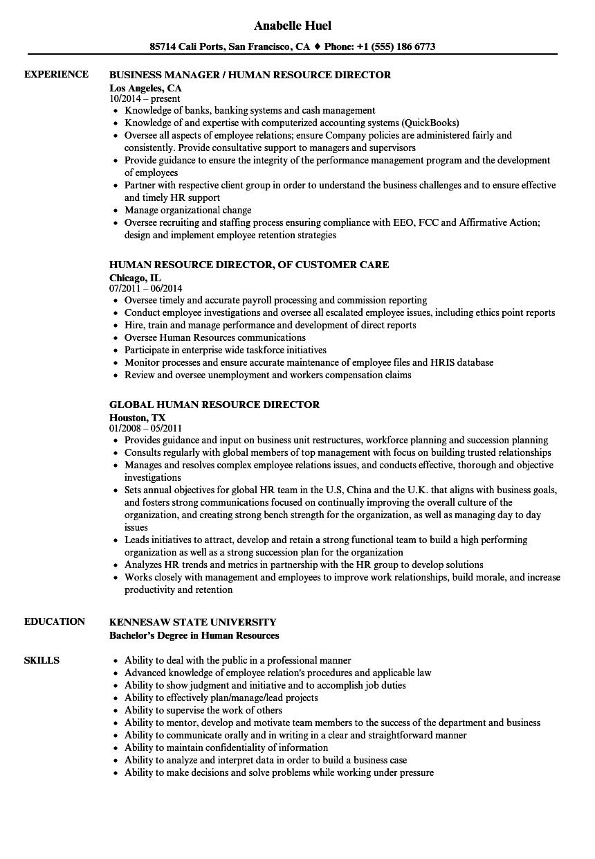 Download Human Resource Director Resume Sample As Image File