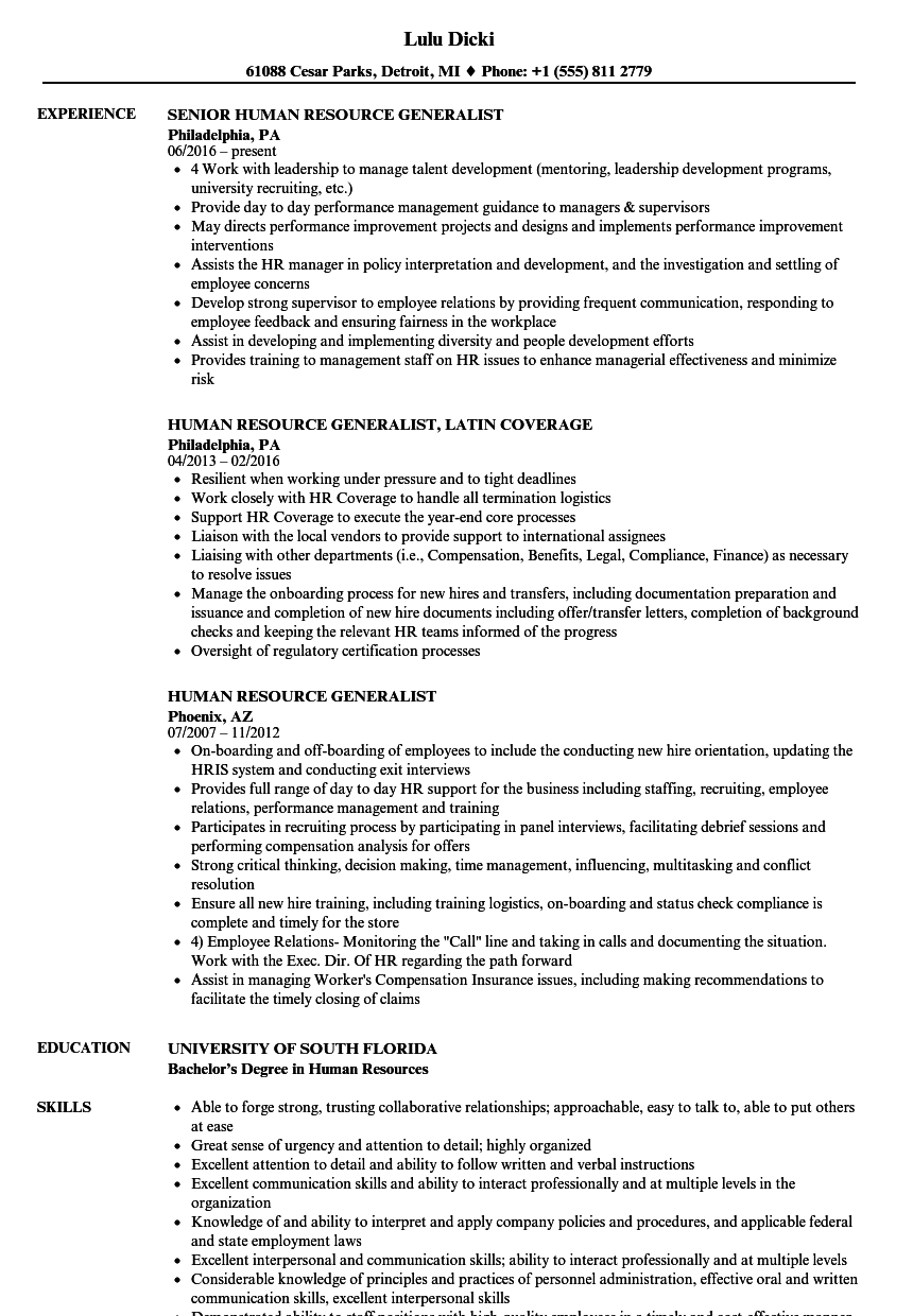 human resource generalist resume samples