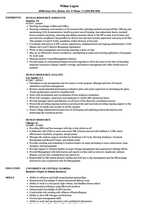 Human Resource Resume Samples Velvet Jobs