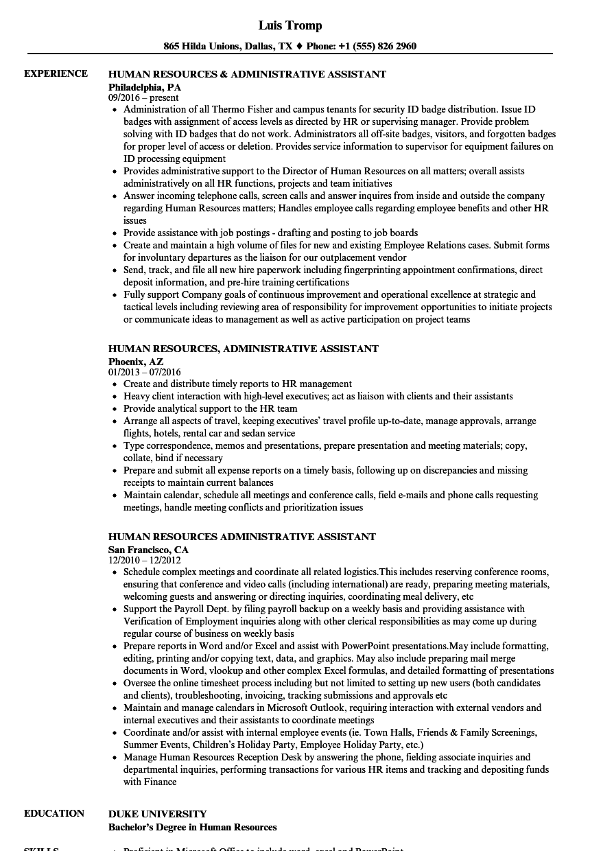human resources administrative assistant resume samples