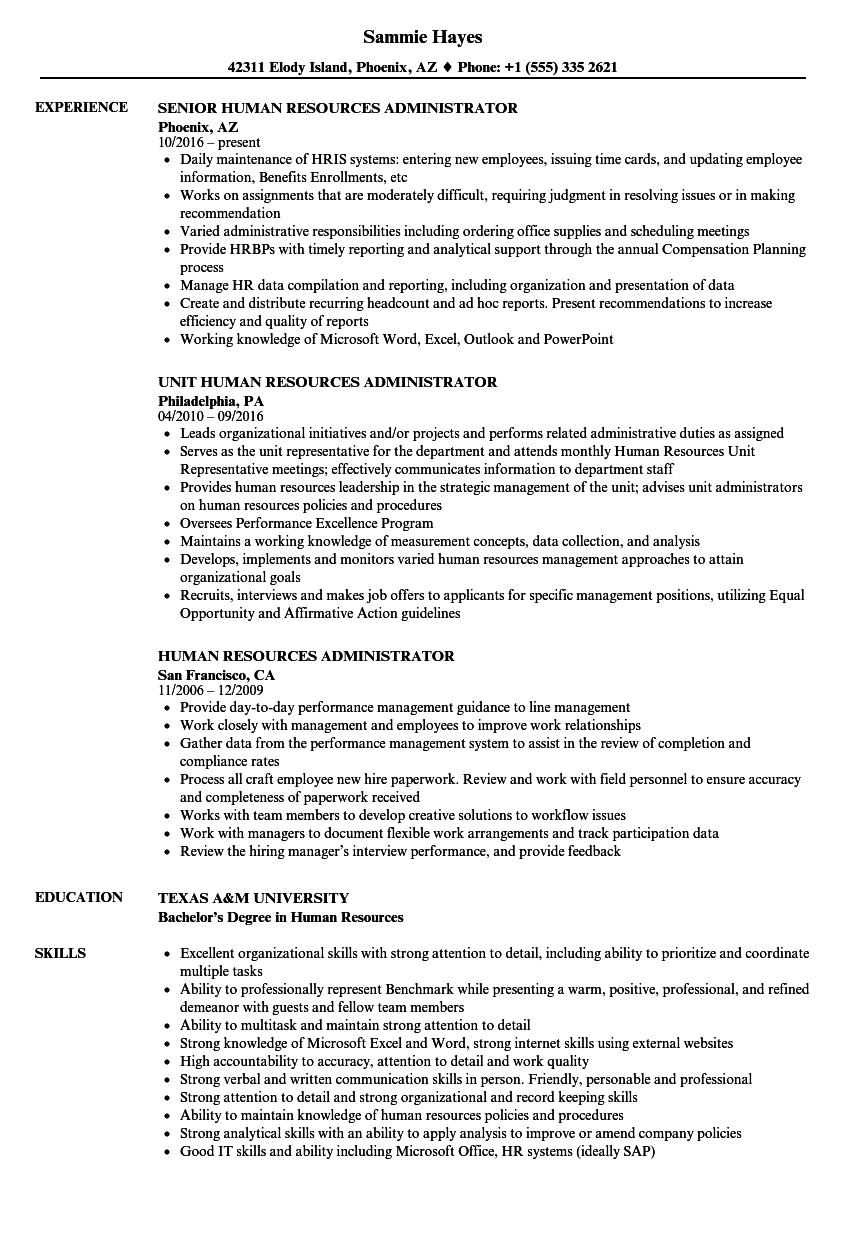 Human Resources Administrator Resume Samples Velvet Jobs