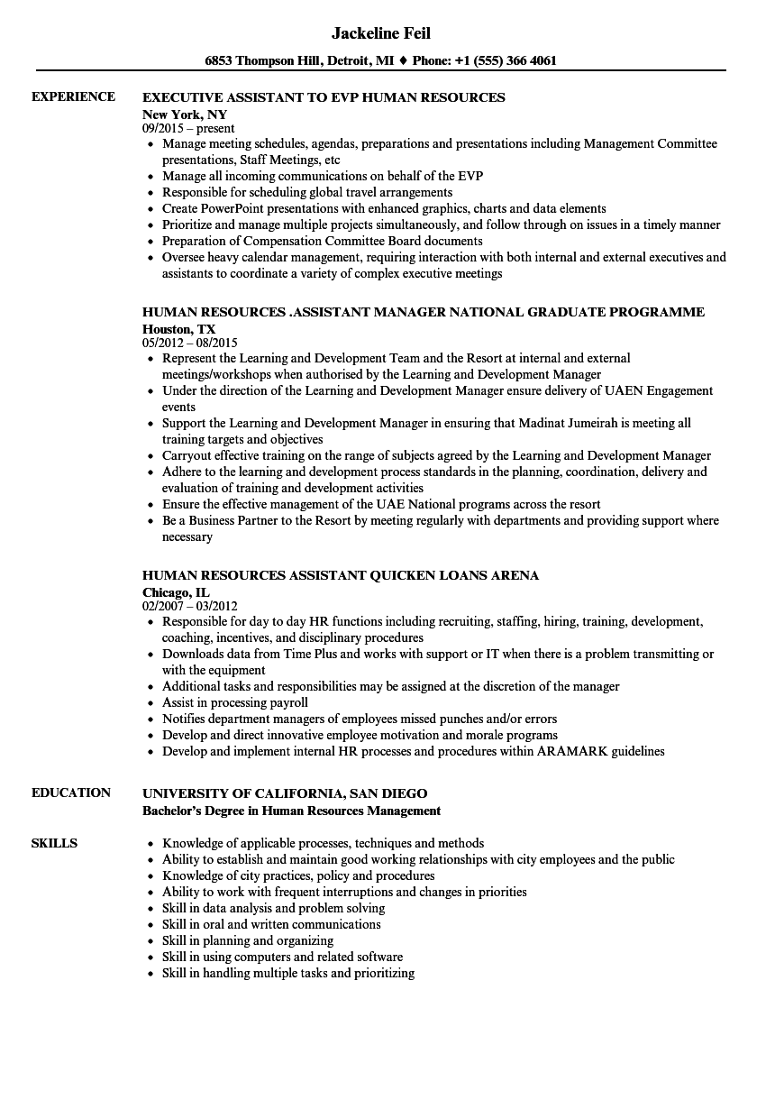 human resources assistant  human resources resume