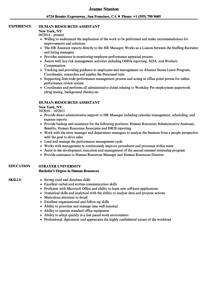 sample human resources assistant resume