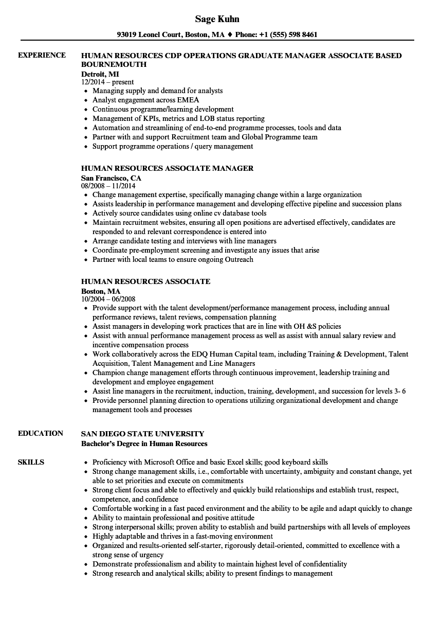 human resources associate resume samples