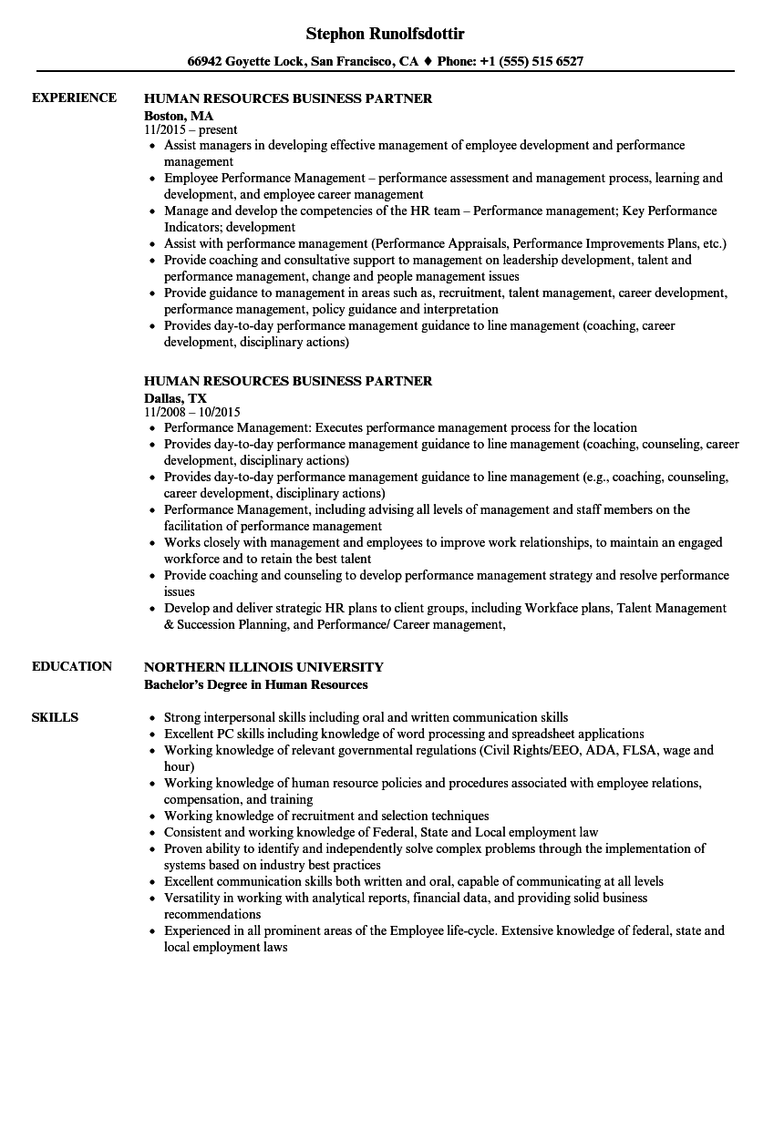 Human Resources Business Partner Resume Samples Velvet Jobs