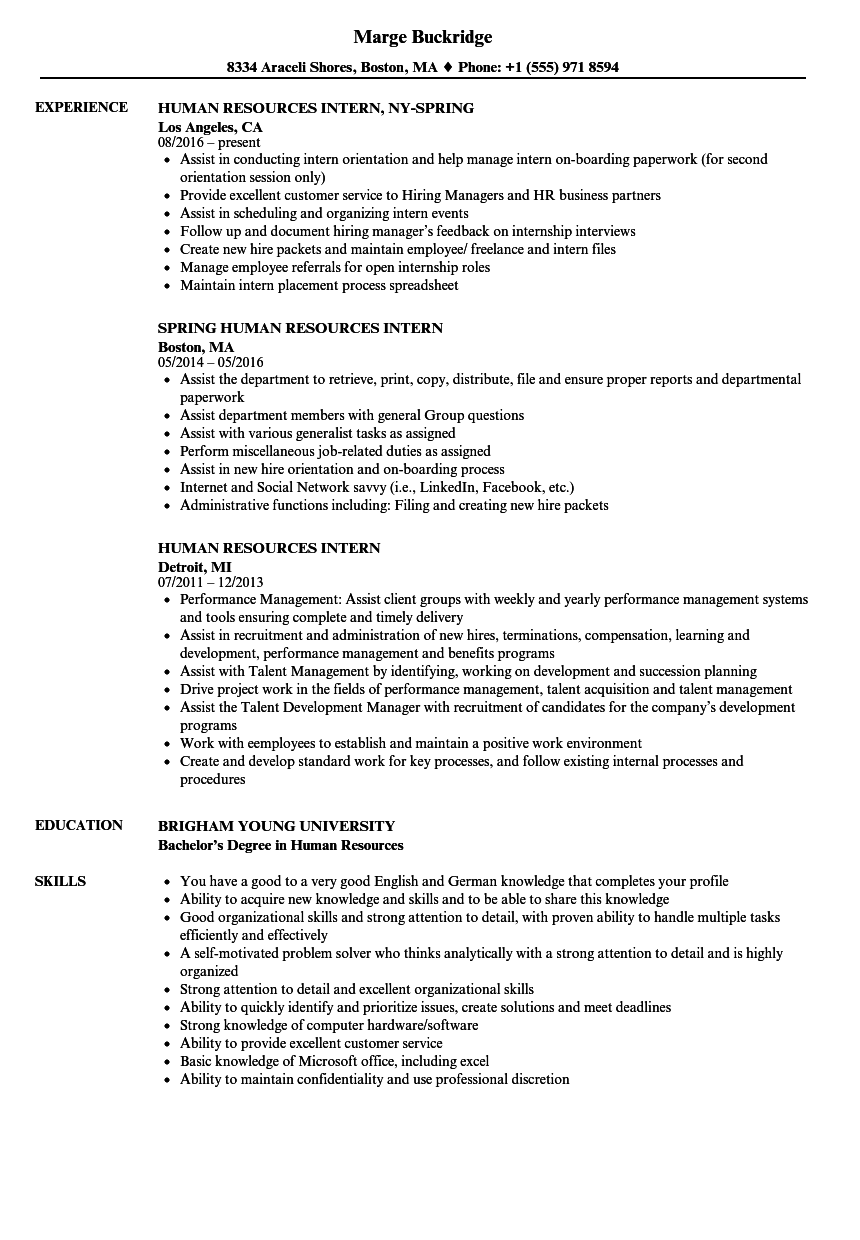 Human Resources Intern Resume Samples | Velvet Jobs