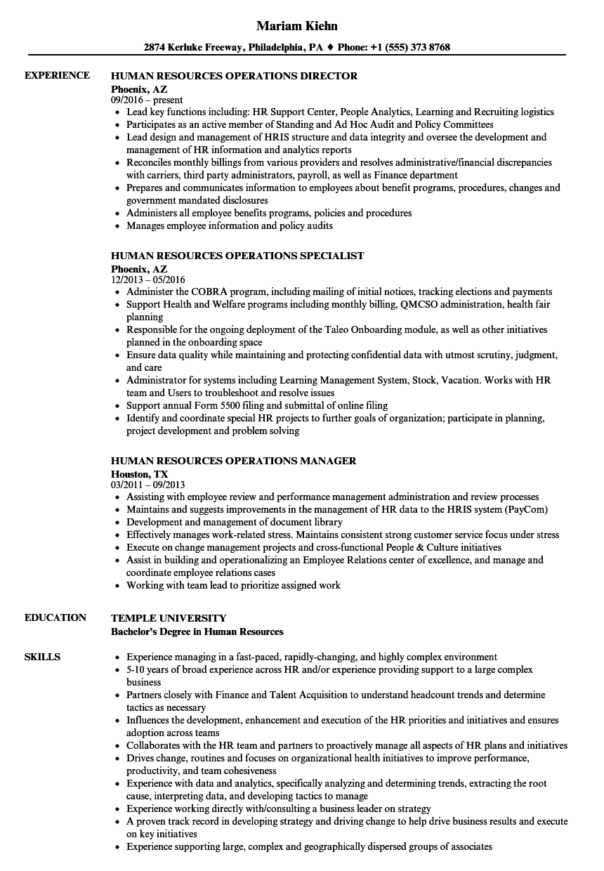 download human resources operations resume sample as image file