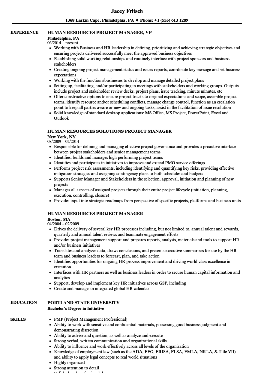 Human Resources Project Manager Resume Samples | Velvet Jobs