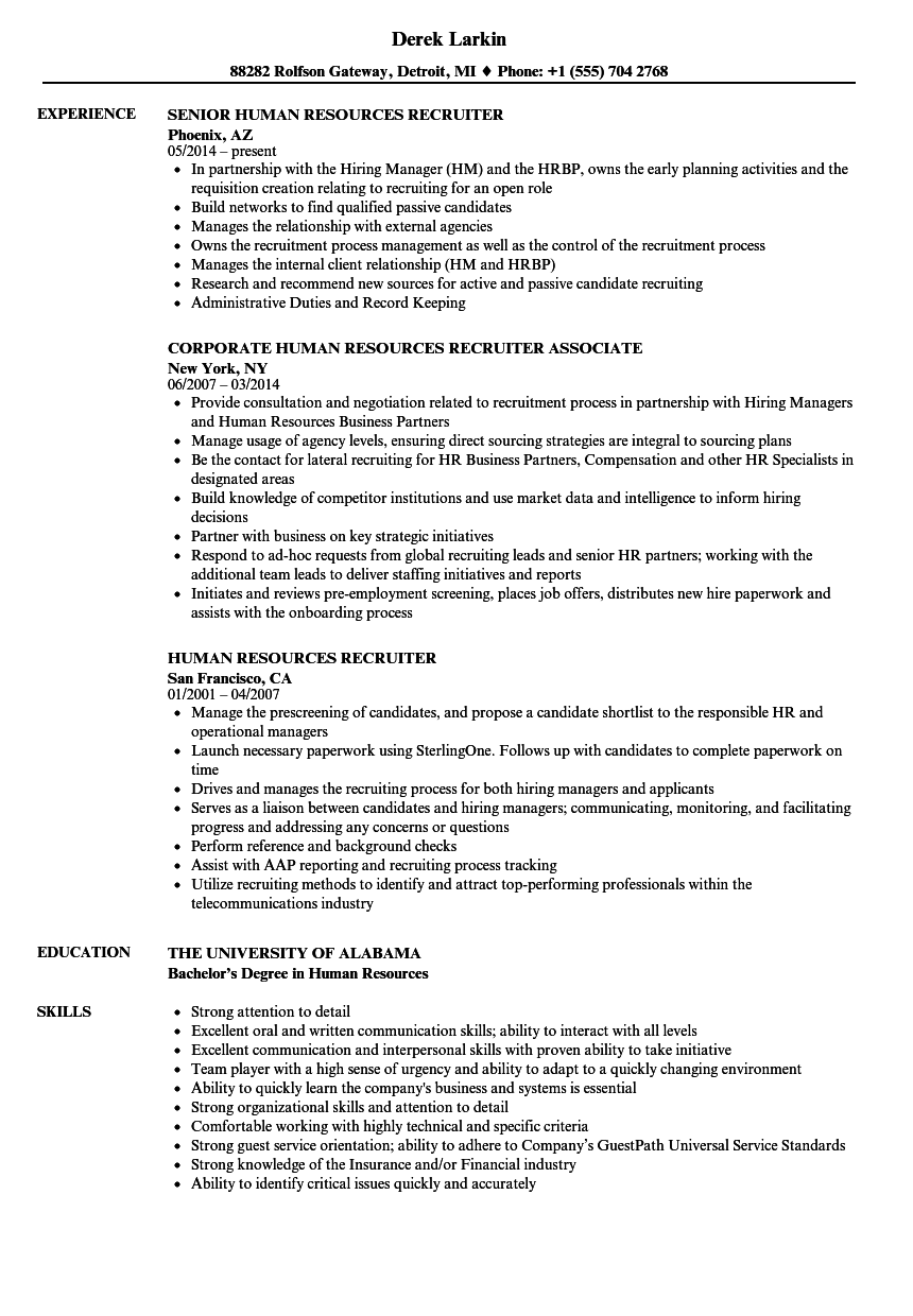 human resources recruiter resume samples