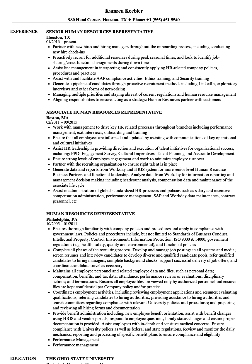 Human Resources Representative Resume Samples | Velvet Jobs