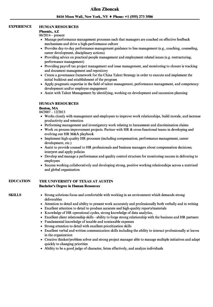 Human Resources Resume Samples | Velvet Jobs