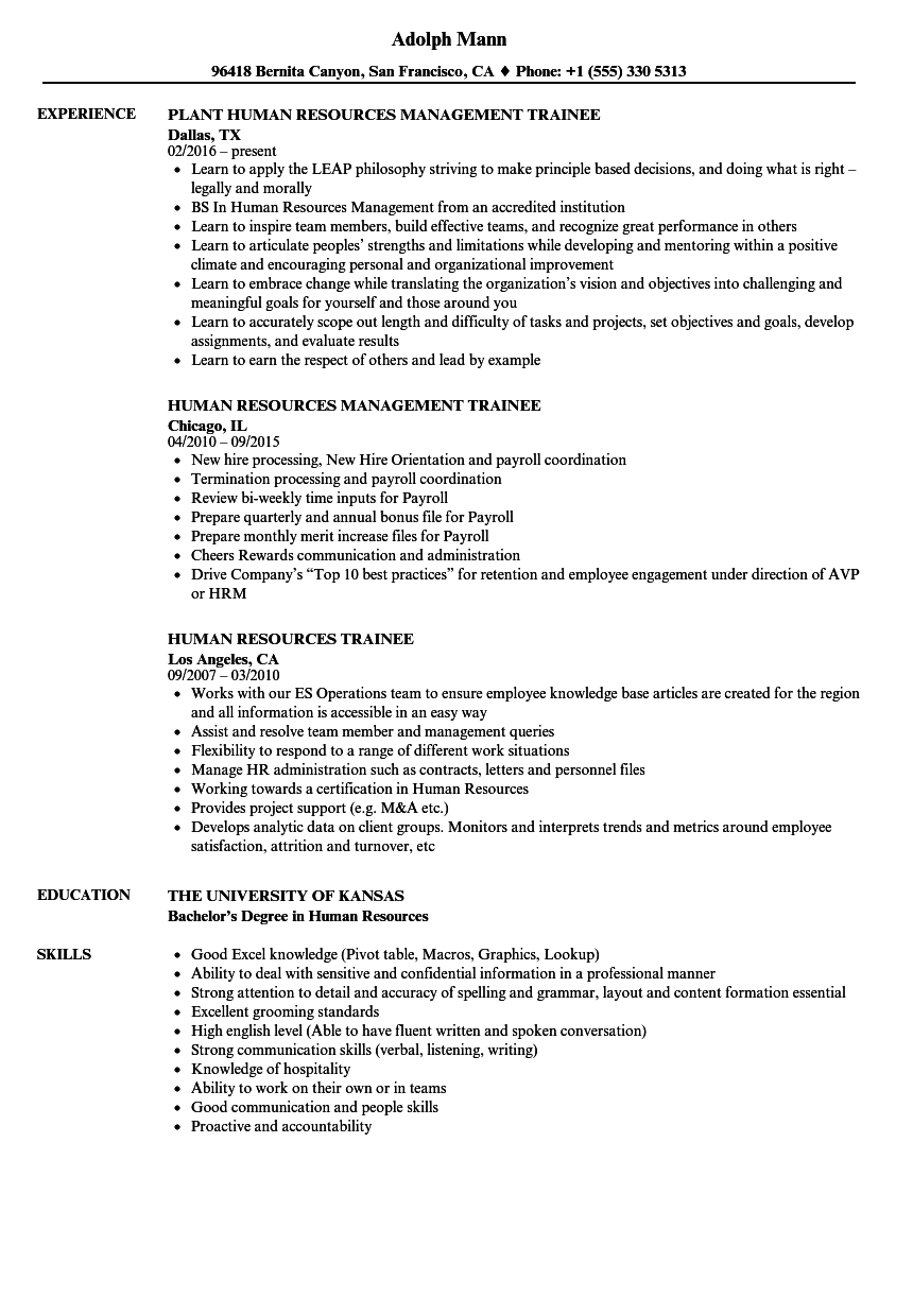 human resources trainee resume samples
