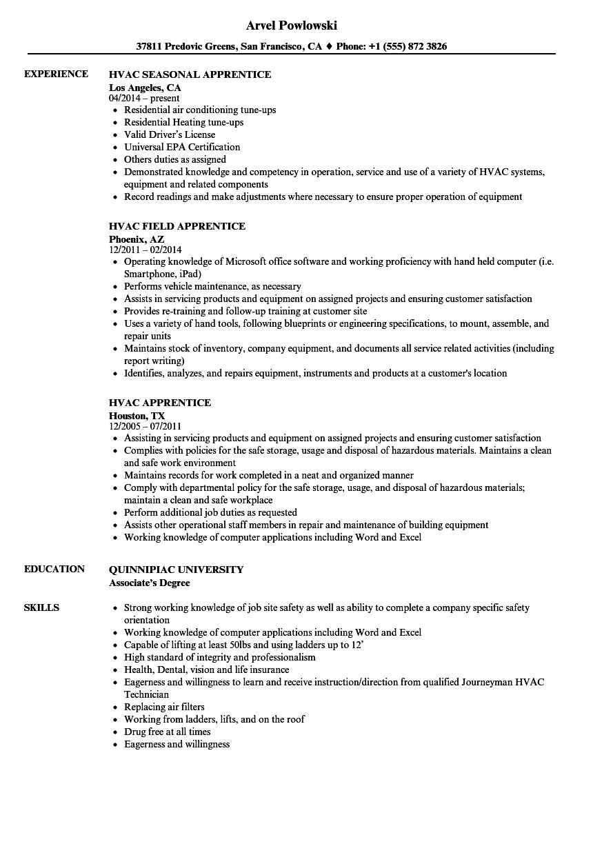 Hvac Apprentice Resume Samples | Velvet Jobs