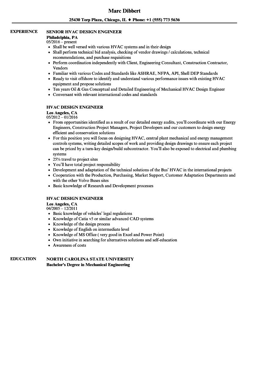 hvac design engineer resume samples