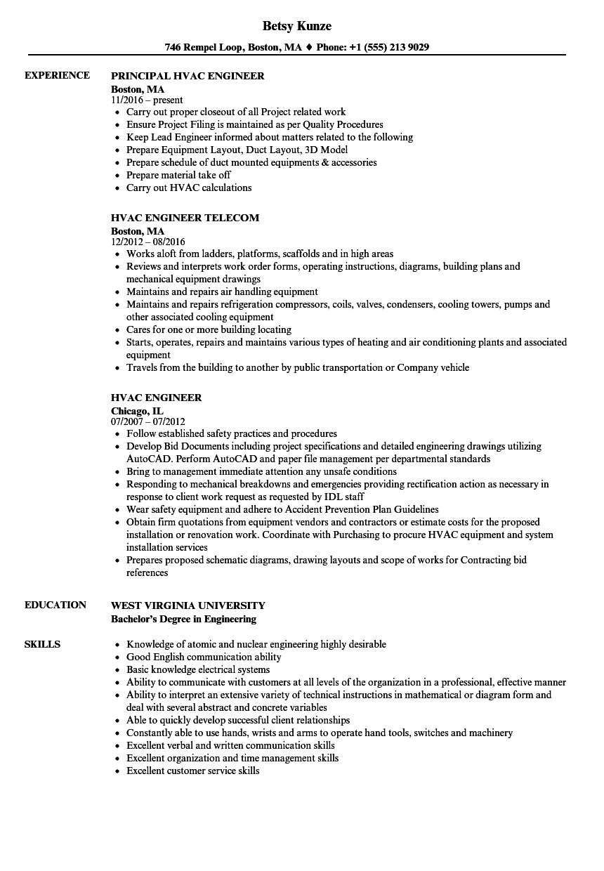 Hvac Engineer Resume Samples | Velvet Jobs