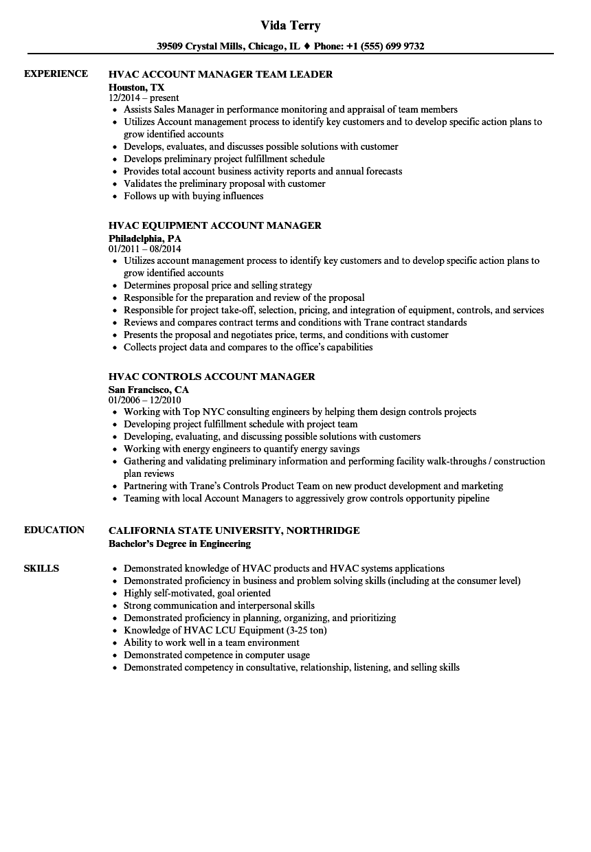 Hvac Manager Resume Samples Velvet Jobs