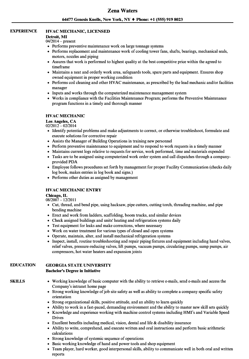 Hvac Mechanic Resume Samples Velvet Jobs
