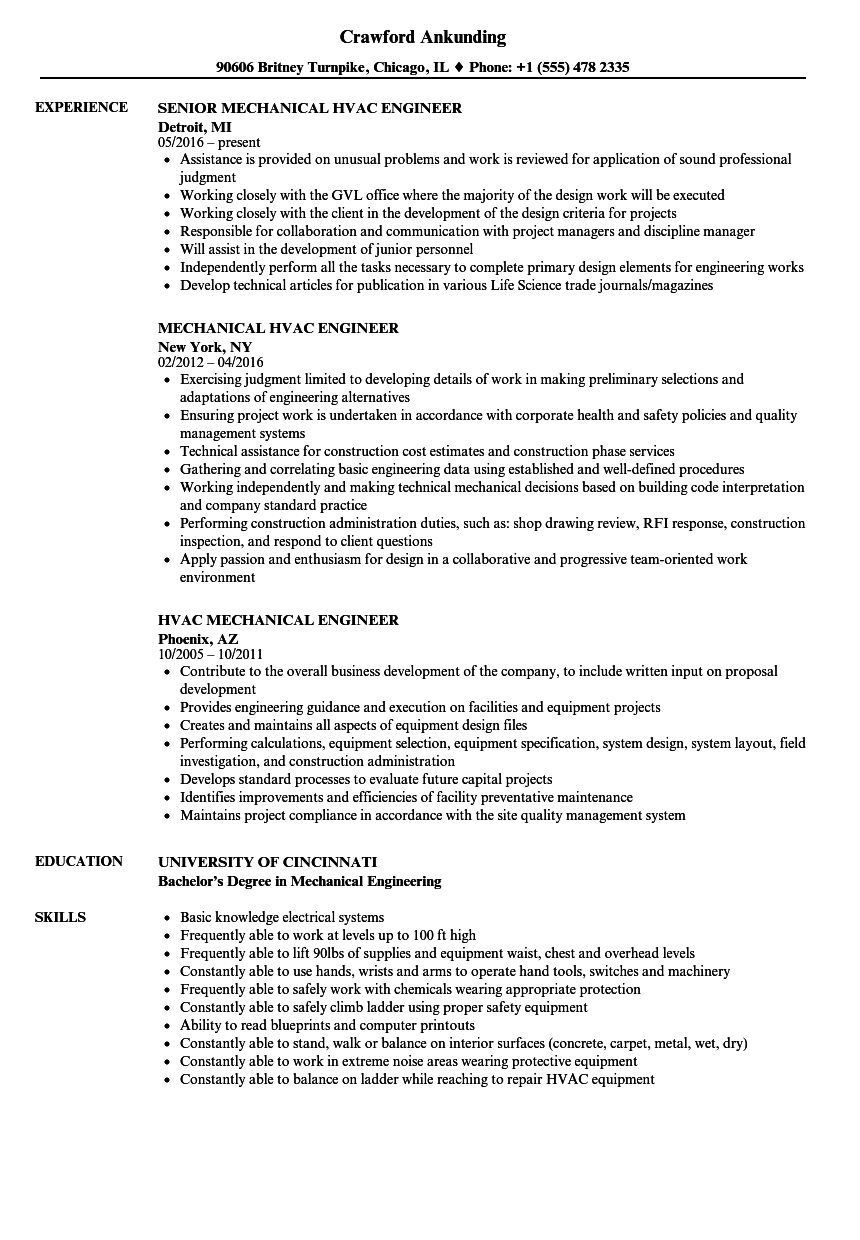 Hvac Mechanical Engineer Resume Samples | Velvet Jobs