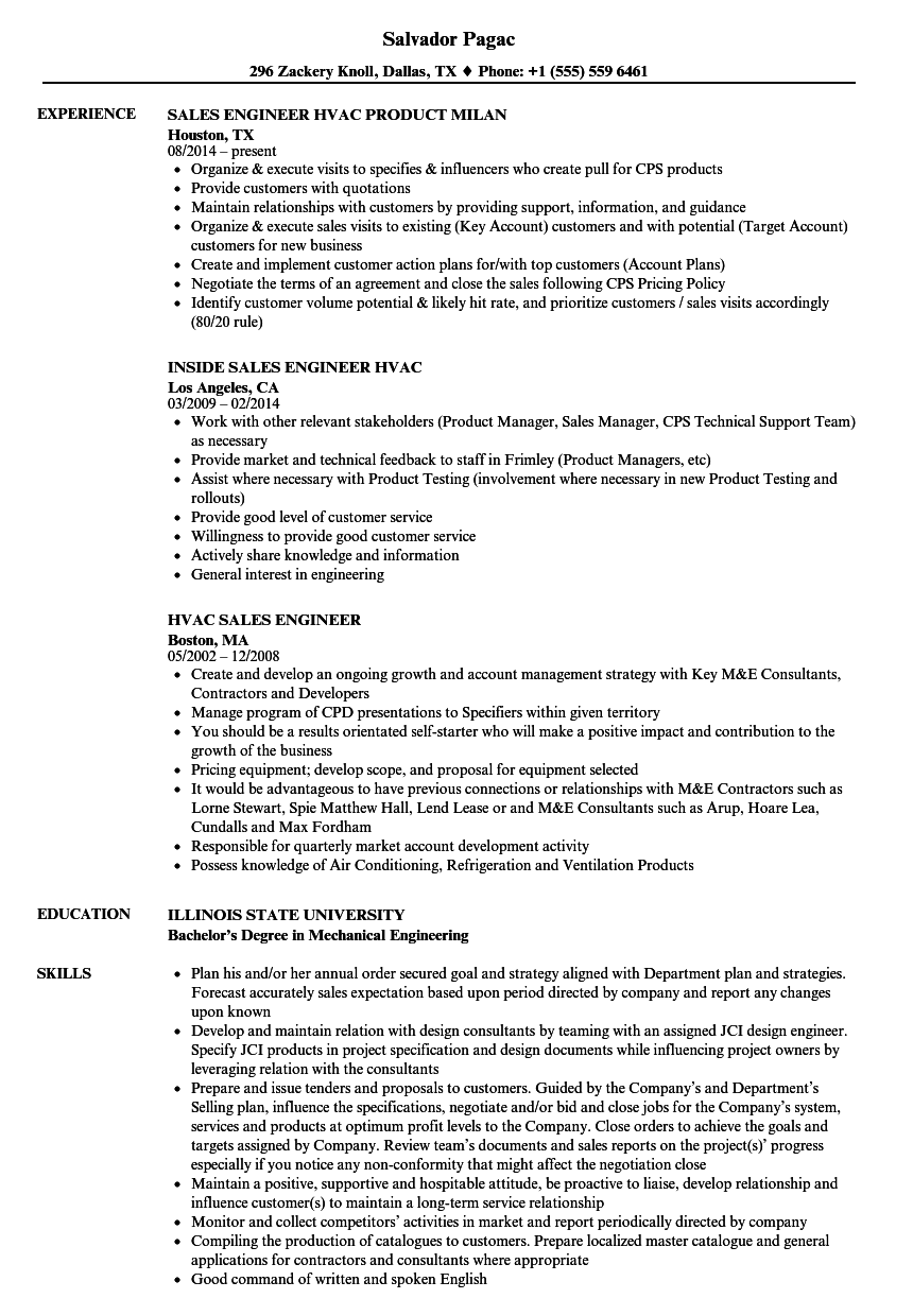 Hvac Sales Engineer Resume Samples | Velvet Jobs