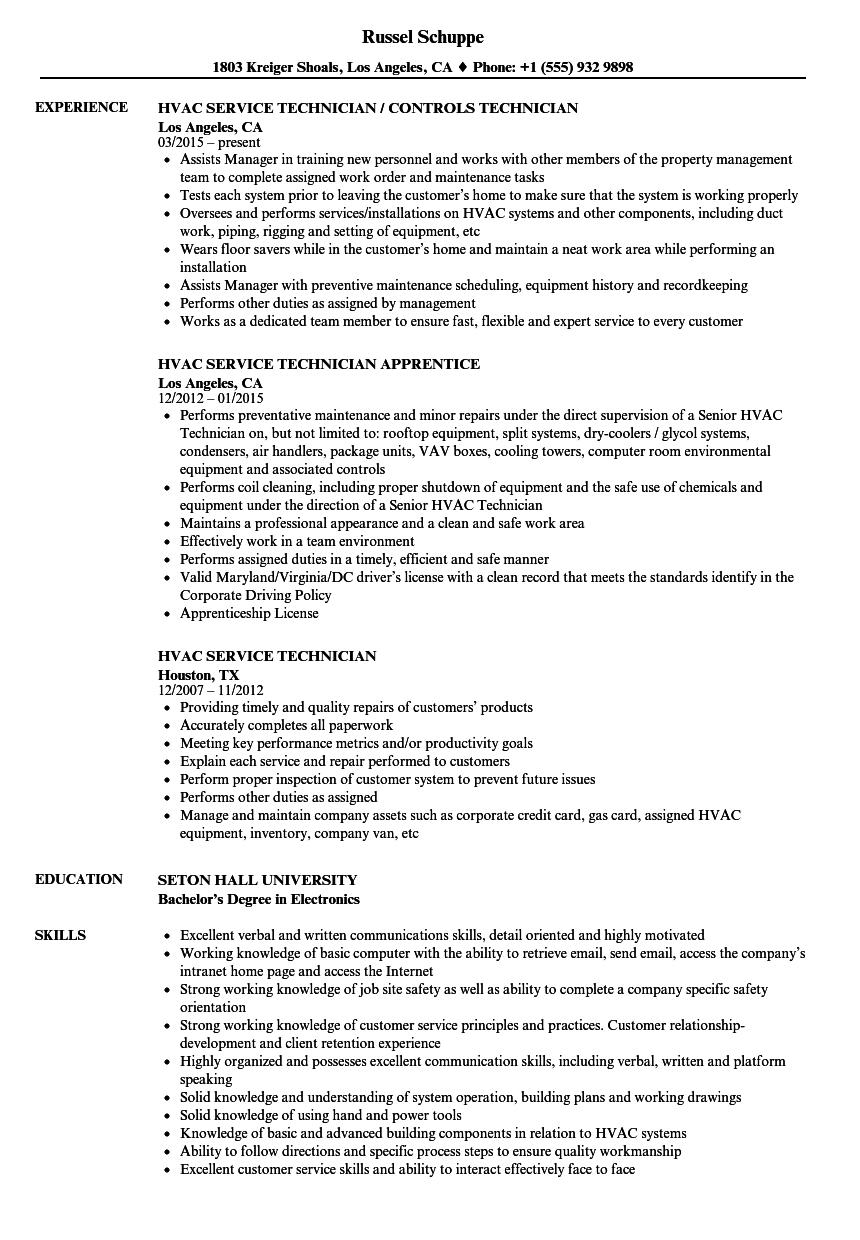 Hvac Service Technician Resume Samples | Velvet Jobs