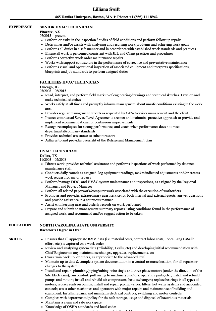 Hvac Technician Resume Samples | Velvet Jobs