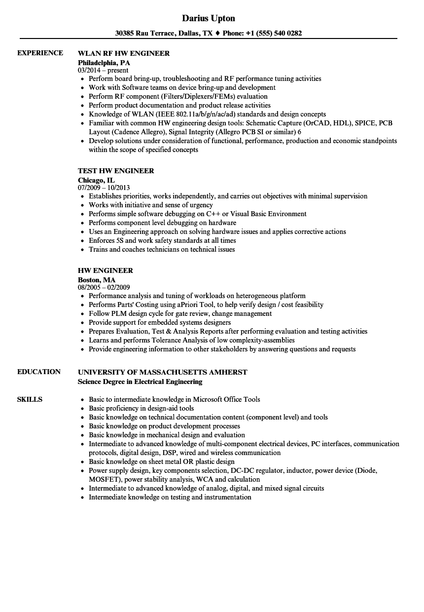 Download HW Engineer Resume Sample As Image File