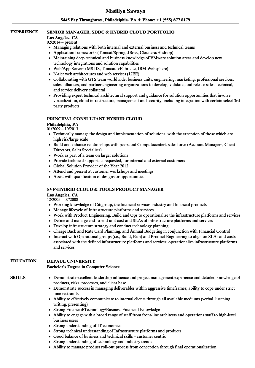 Hybrid Cloud Resume Samples Velvet Jobs