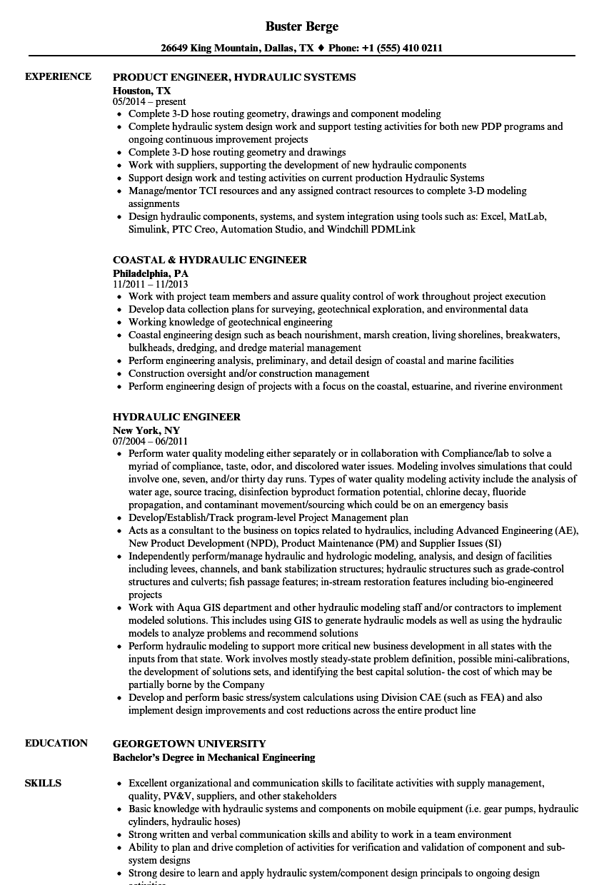 hydraulic engineer resume samples
