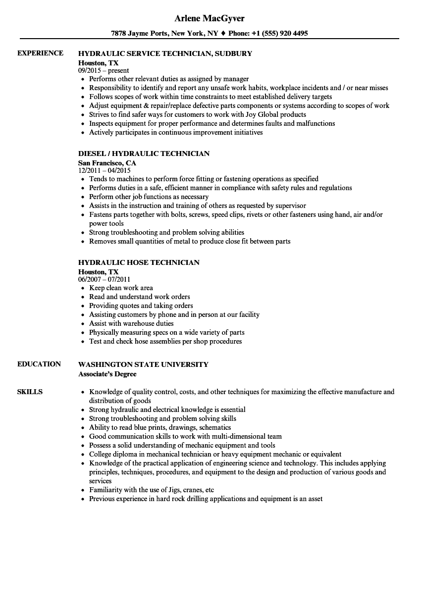 hydraulic technician resume samples