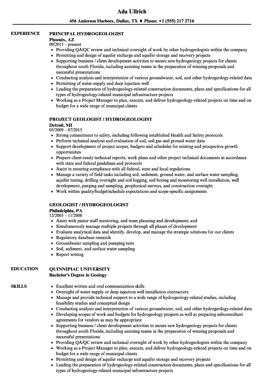 Download Hydrogeologist Resume Sample As Image File