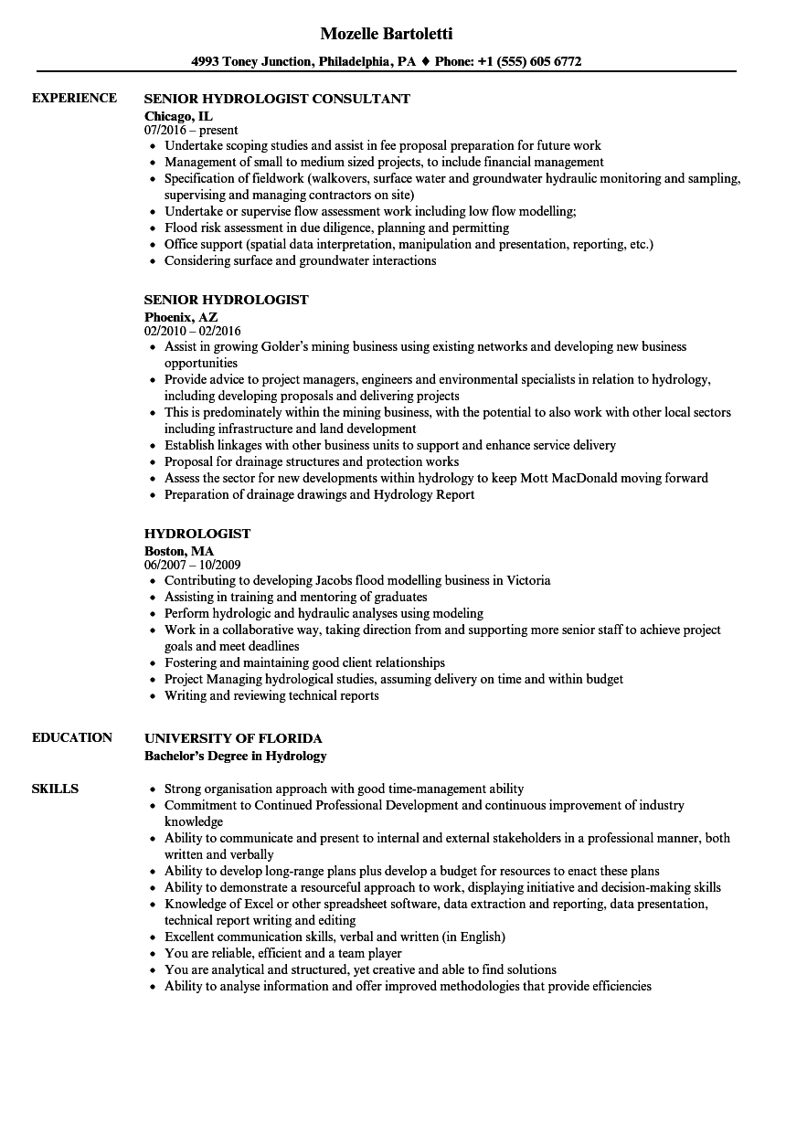 hydrologist resume samples