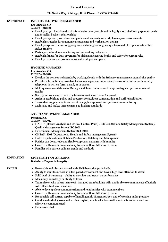 Hygiene Manager Resume Samples | Velvet Jobs