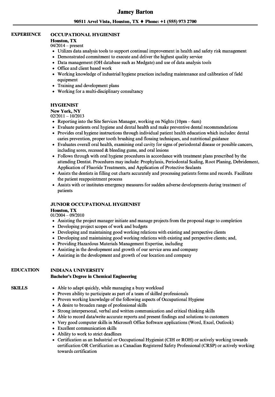 hygienist resume samples